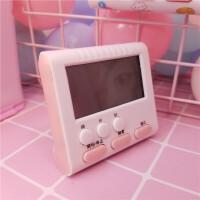 电子表桌面 粉色可爱迷你闹钟电子计时器电子闹钟表台钟看时间桌面道具摆件 粉色迷你闹钟计时器(送贴纸) 贴纸图案是随机的