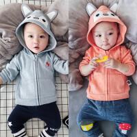 婴儿上衣拉链衫春秋季宝宝卫衣连帽新生儿满月宝宝周岁男女外出服