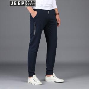 JEEP吉普薄款卫裤男2018春夏新品针织运动长裤宽松休闲微弹小脚束口裤子