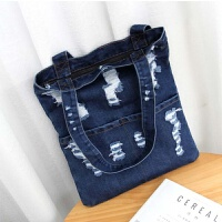 女包韩版时尚破洞牛仔时尚单肩包大容量手提包购物袋一件