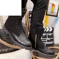 潮牌英伦时尚男靴冬季加绒鞋保暖棉潮流雪地靴权志龙GD夜店潮韩版短筒拉链马丁靴
