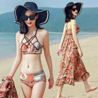 比基尼三件套泳衣女保守小香风小胸聚拢显瘦遮肚性感韩国分体温泉