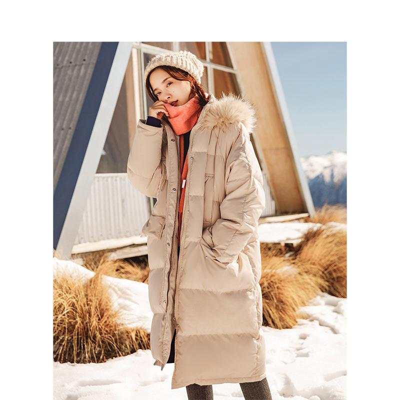 茵曼2018冬装新款连帽毛领宽松长款羽绒服外套女【1884121175】好好过年 买一送一#仅限1.10-1.20#