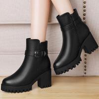 莫蕾蔻蕾 冬季新款粗跟马丁靴皮带扣短靴防水台英伦保暖高跟单靴 6D613