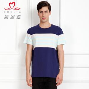 康妮雅夏季新款男装 时尚条纹撞色棉质短袖T恤薄款