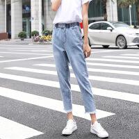 夏季薄款牛仔裤女新款显瘦松紧腰九分裤宽松休闲哈伦裤子