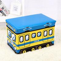 多功能宝宝卡通整理箱换鞋凳墩子门厅沙发凳儿童玩具收纳凳储物凳子可坐人衣服收纳箱盒 大号黄蓝