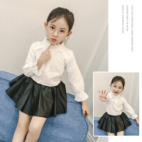 儿童衬衣长袖女童白衬衫演出服小孩上衣春装立领中大童洋气潮时尚