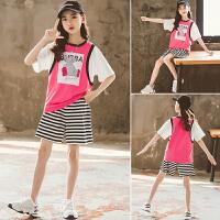 女童运动套装夏装儿童中大童夏季时髦两件套童装潮