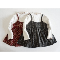 夏桑小铺童装 高领打底衫 女童加绒假两件背心撞色碎花 短连衣裙