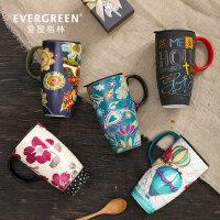 爱屋格林创意大容量马克杯子陶瓷带盖咖啡早餐杯简约家用水杯情侣