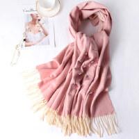 羊毛羊绒围巾女秋冬季加厚枣红色百搭旗袍冬天披肩