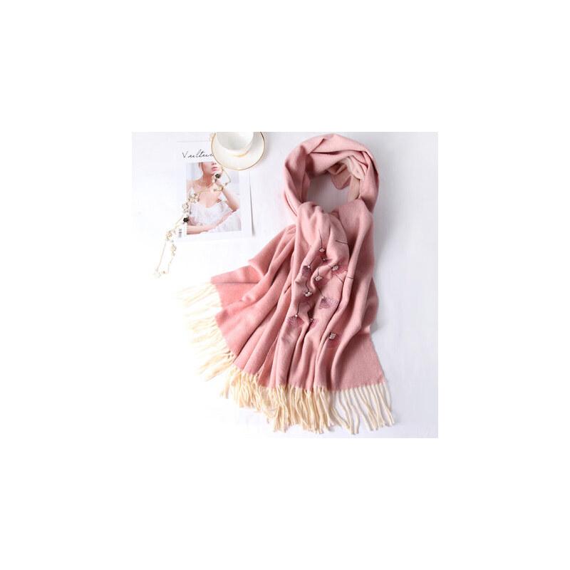 羊毛羊绒围巾女秋冬季加厚枣红色百搭旗袍冬天披肩 品质保证 售后无忧