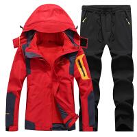 户外冬季冲锋衣男三合一两件套衣裤套装加绒加厚防水登山服女潮牌新品