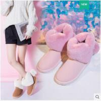 网红爱心雪地靴女冬季新款韩版短筒防水防滑加厚学生懒人棉鞋