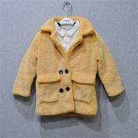 2017年秋冬新款男女童加棉加厚羊羔毛西装款外套T251
