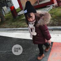 婴幼儿宝宝连帽貉子毛大毛领羽绒服加长款保暖外套冬款