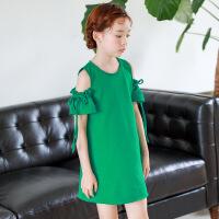 女童连衣裙夏2018新款韩版时尚中大儿童漏肩海边度假沙滩公主裙子