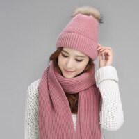 女士潮流貉子毛球帽子围巾 新款加绒加厚兔毛混纺保暖皮草帽子围巾女毛线帽