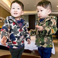 *儿童装男童长袖外套2018新款韩版童装宝宝迷彩上衣冬装