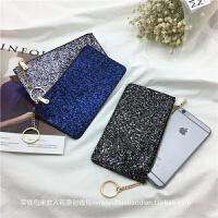 零钱包女长款百搭拉链卡夹欧美手拿包新款韩版个性亮片手机包