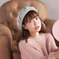 休闲立体小花珍珠画家帽羊毛蓓蕾帽纯色韩版甜美可爱毛呢贝雷帽女