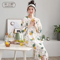 轩之婷 莫代尔睡裙女夏天菠萝薄款中袖长款过膝甜美可爱可外穿连衣裙睡衣夏季