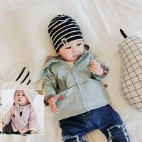 婴儿外出服宝宝外套春季款纯棉长袖上衣韩版卡通连帽装0-1岁新品