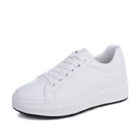 秋季厚底休闲小白鞋女 学生文艺运动鞋女 跑步鞋白色系带女鞋