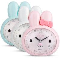 得力 8803 兔子可爱懒人闹钟静音闪光灯儿童小闹钟床头走时精准 颜色混发