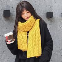 毛线围巾 女士简约加厚毛线围巾2019冬季情侣纯色针织围巾学生钩花围巾