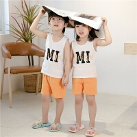 儿童背心套装夏季薄款无袖男童两件套内穿打底小女童宝宝童装