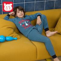 【3件5.5折】小猪班纳童装儿童保暖内衣套装男童秋衣秋裤套装中大童加绒家居服