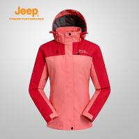 【满300减90/满500减150】Jeep/吉普 女士户外冲锋衣防风防泼水透气接缝压胶夹克外套J666010805