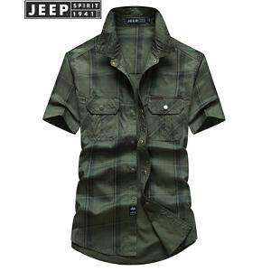 JEEP吉普短袖格子衬衫男2018年夏季薄款男士商务休闲免烫翻领衬衣