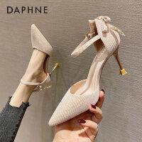 达芙妮高跟鞋女细跟2021年春新款百搭尖头浅口中空婚鞋单鞋女