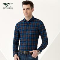七匹狼男装 青年男士休闲衬衫 时尚都市 气质长袖衬衫衬衣5082576