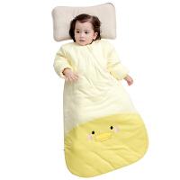 南极人婴儿睡袋 纯棉2017款前厚后薄夹棉斜开长袖可脱袖蘑菇拼色款睡袋