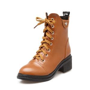 ELEISE美国艾蕾莎新品秋冬150-D-1韩版超纤皮粗跟中高跟女士女靴短靴