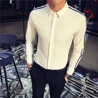 白衬衫男长袖修身 韩版 潮流学生男装个性衬衣帅气衫衣小清新