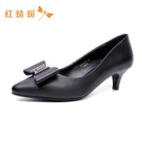 红蜻蜓女鞋秋季真皮单鞋女尖头浅口高跟细跟职业皮鞋