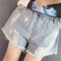 夏季牛仔短裤儿童休闲外穿热裤雏菊印花破洞裤子毛边牛仔裤女童