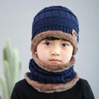 时尚休闲保暖帽韩版男童帽子潮儿童围巾 户外护耳毛线帽中大童围脖套装