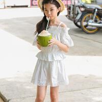 女童休闲套装2018夏季新款韩版洋气运动装中大童装度假短裙两件套