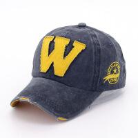 韩版W字母棒球帽子 速卖通牛仔布料鸭舌帽水洗做旧弯檐遮阳帽 可调节