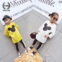 女童打底衫春季2018新款潮童装 韩版卡通八分袖中小童休闲t恤上衣