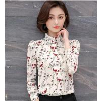 碎花雪纺衬衫女长袖户外新品网红同款新款韩版修身衬衣打底衫妈妈装上衣寸