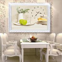 简约现代清新3D印花餐厅十字绣客厅钟表新款卧室挂钟简单小幅