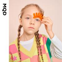 【2件3折券后预估价:93】MQD童装女童渐变格毛衣2021春装新款儿童卡通宽松落肩背心毛衣