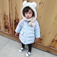 2号直播冬季女童宝宝儿童夹棉连帽耳朵棉衣加厚保暖棉袄外套